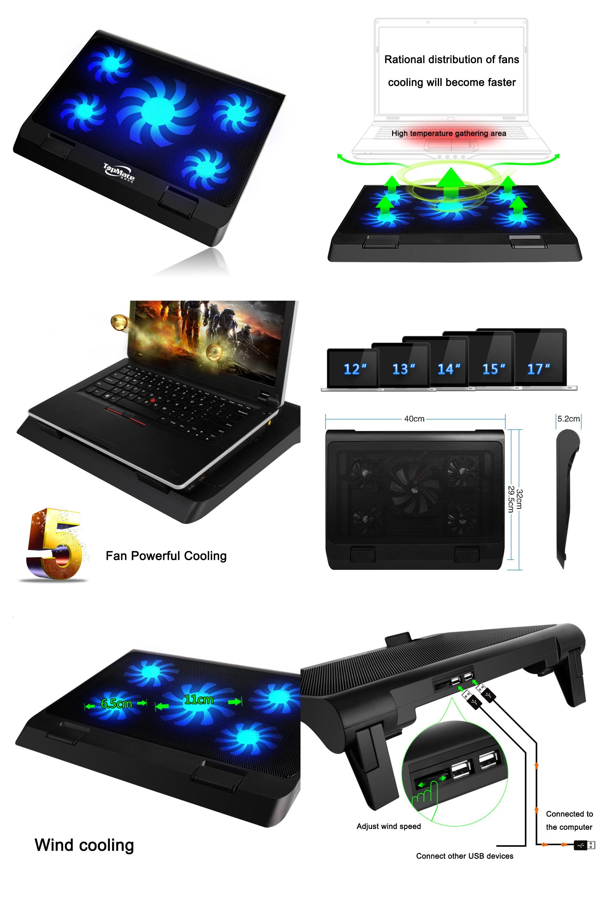 Visit To Buy 17in Laptop Cooling Pad 5 Quite Cooling Fans