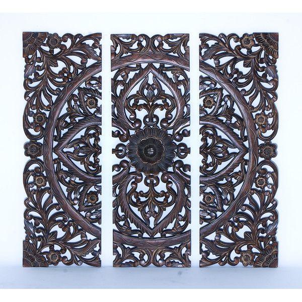 3 Piece Wood Panel Wall Decor Set Carved Wood Wall Art Wood