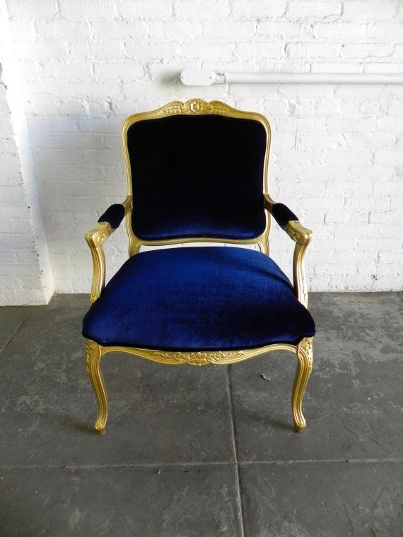 Best Hollywood Regency Gold French Arm Chair W Navy Blue 400 x 300