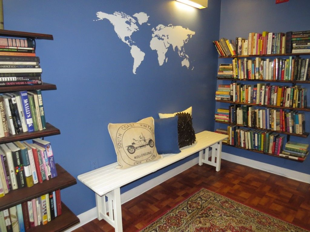 After photo of the library room world map decal ikea bench seat after photo of the library room world map decal ikea bench seat diy gumiabroncs Images