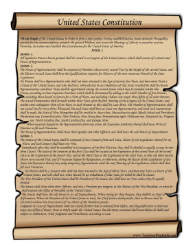 This printable scroll features the text of the United ...