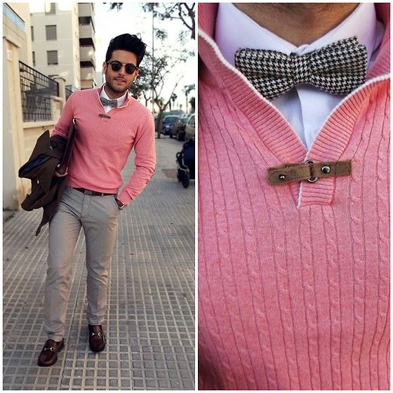 Pink sweater bow tie...perfect on the right guy! Menu0026#39;s spring fashion | Men | Pinterest ...