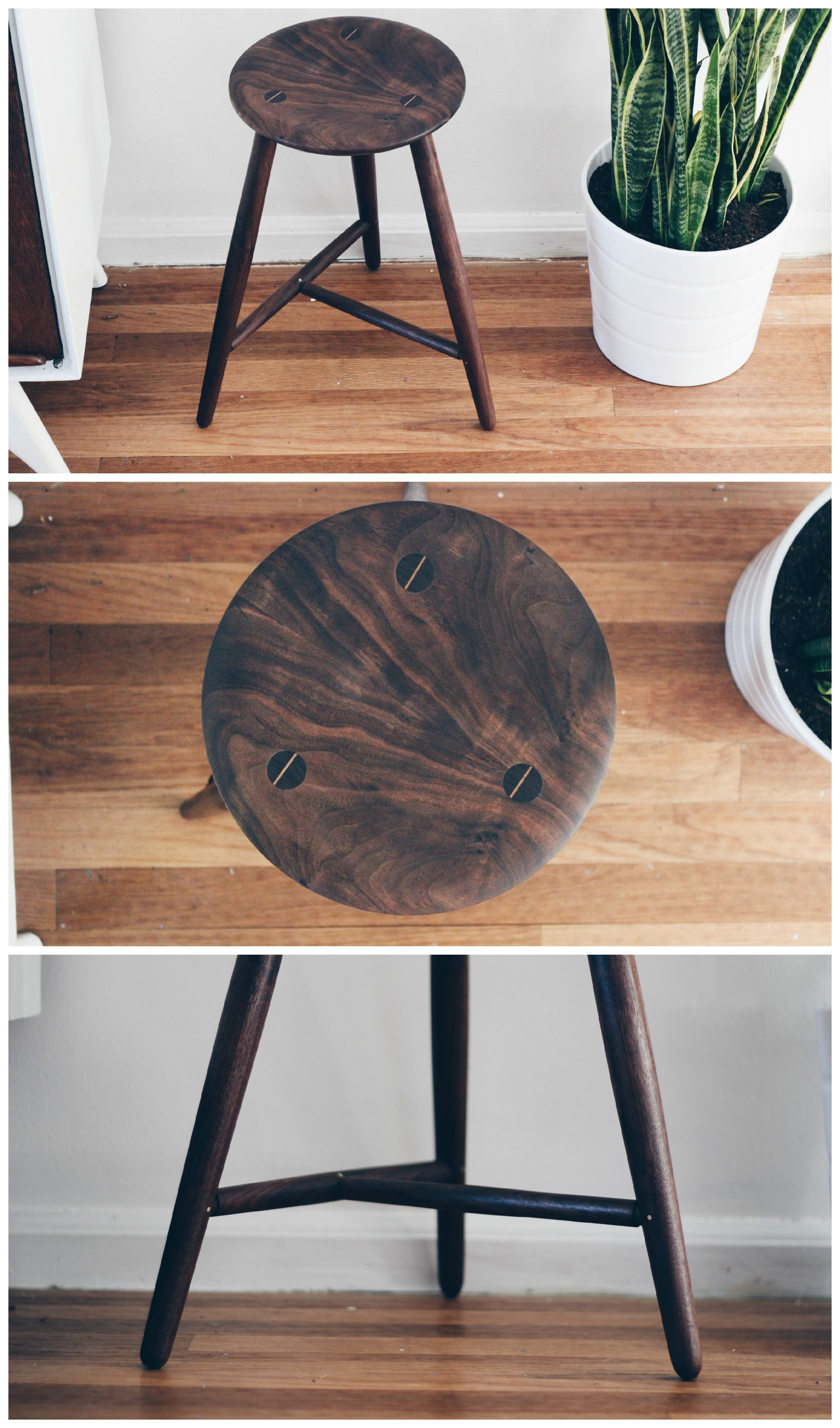 Vintage Italian wooden stool. The round seat and three legs give ...