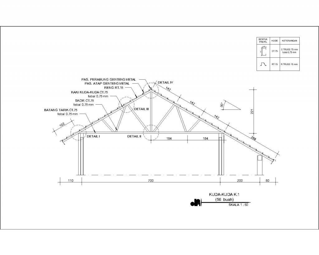 contoh rangka atap baja ringan minimalis detail potongan kuda teknik sipil