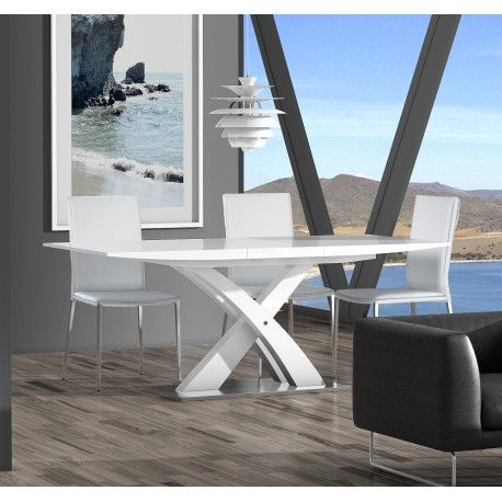 Mesa De Comedor Extensible Moderna Color Blanco Mesas De Comedor Modernas Mesas De Comedor Mesas De Comedor Extensibles