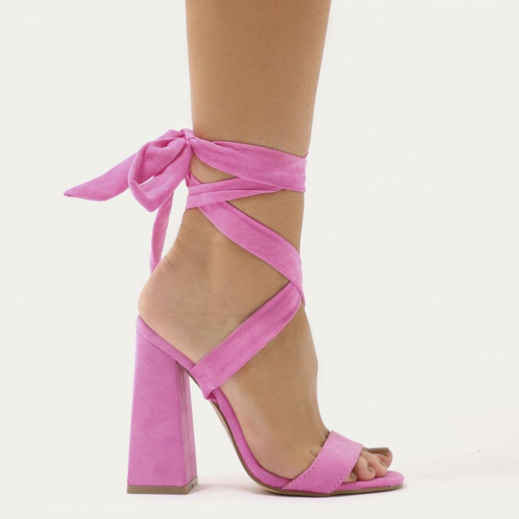 b35d54462571 Honesty Lace Up Flared Block Heels in Hot Pink Faux Suede ...