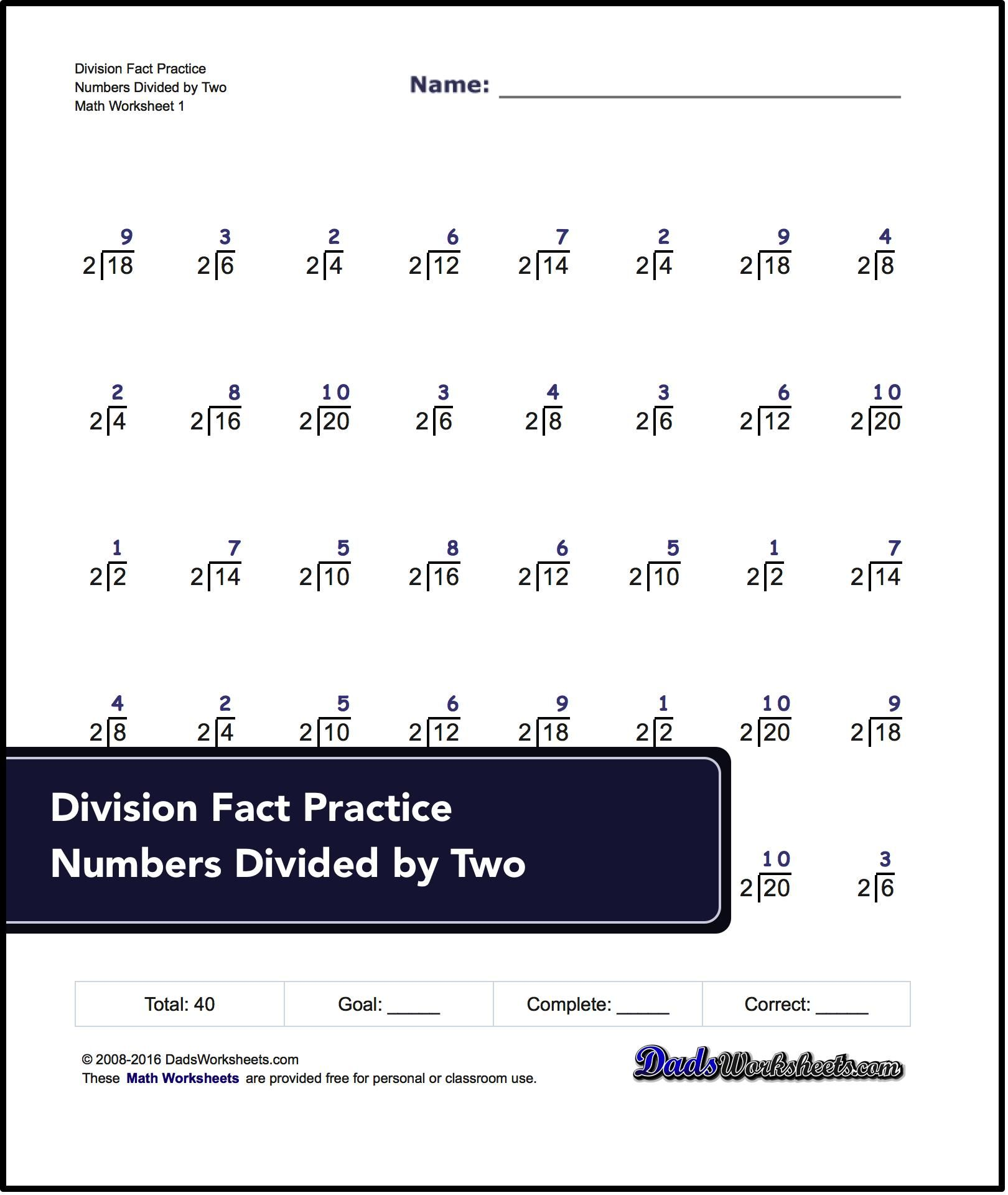 Basic Practice Division Worksheets Designed To Work As One