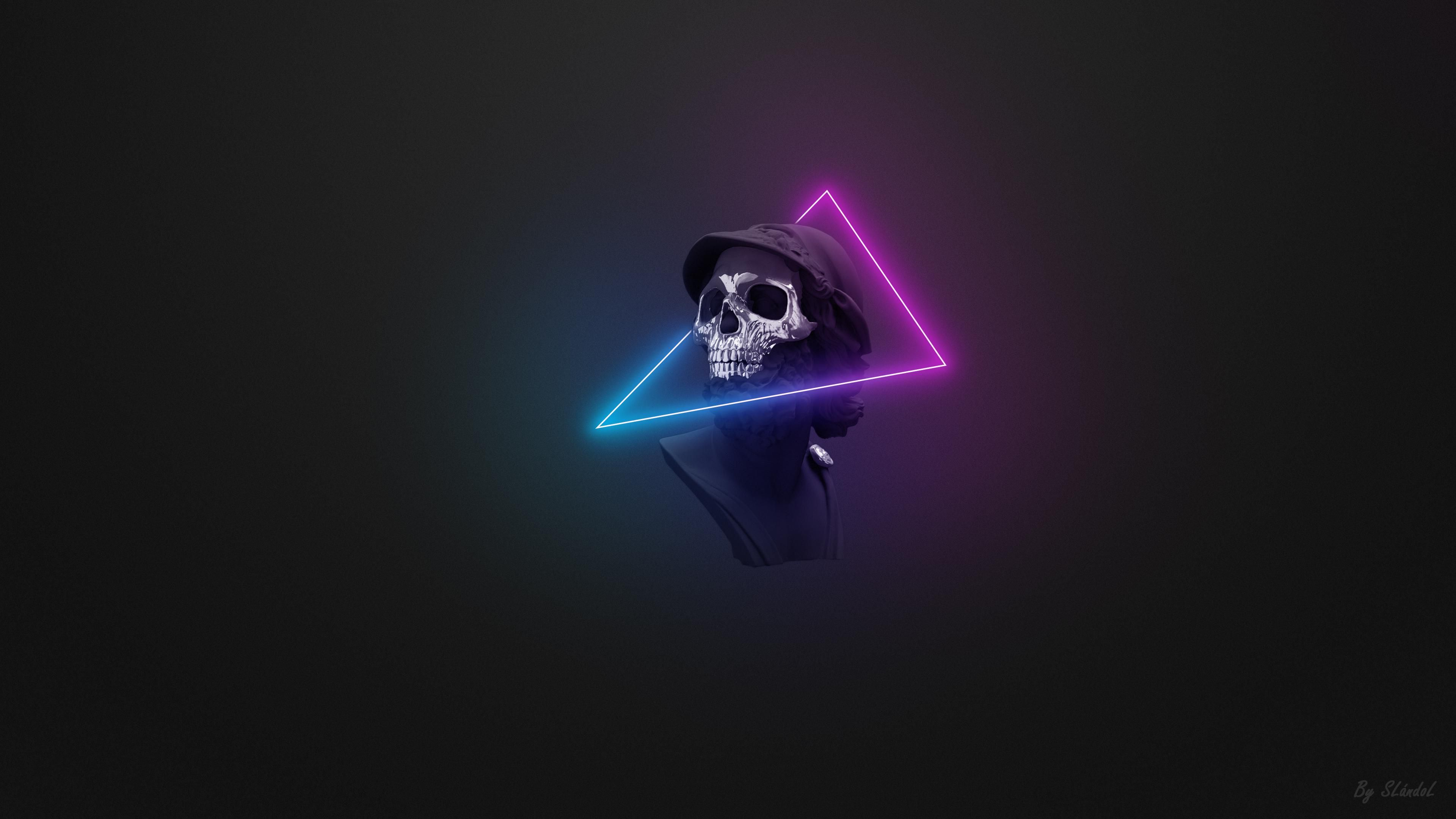 Wallpaper A Bust With A Skull Mask And Neon Lights Oc 4k Skull Wallpaper Graffiti Wallpaper Iphone Wallpaper