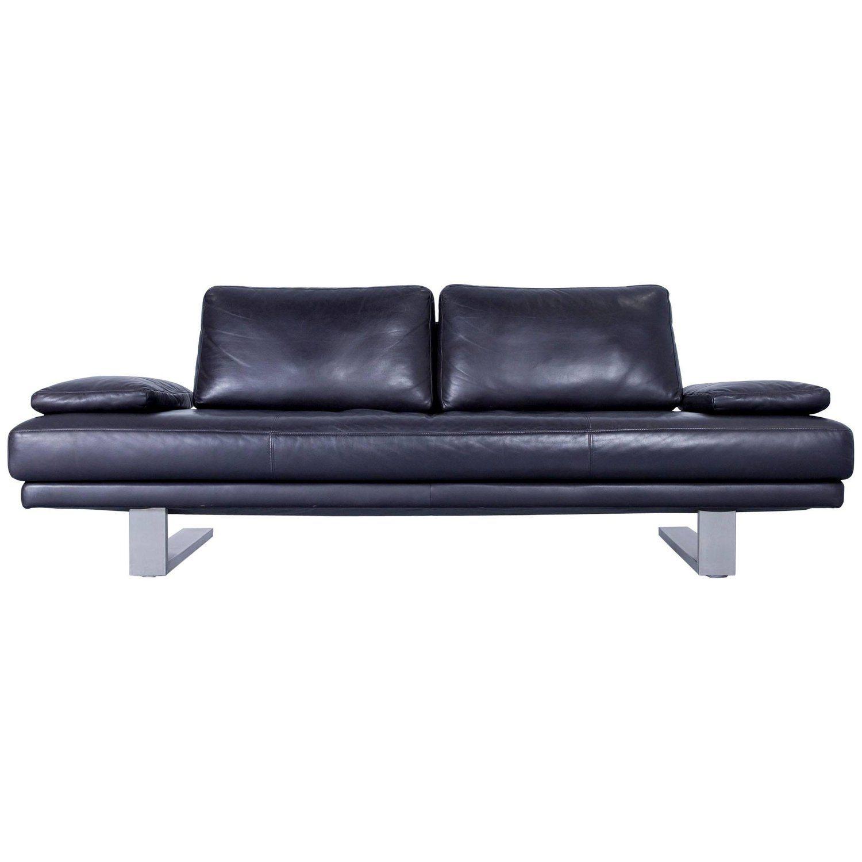 Rolf benz 6600 sofa designer leather aubergine black three seat couch modern