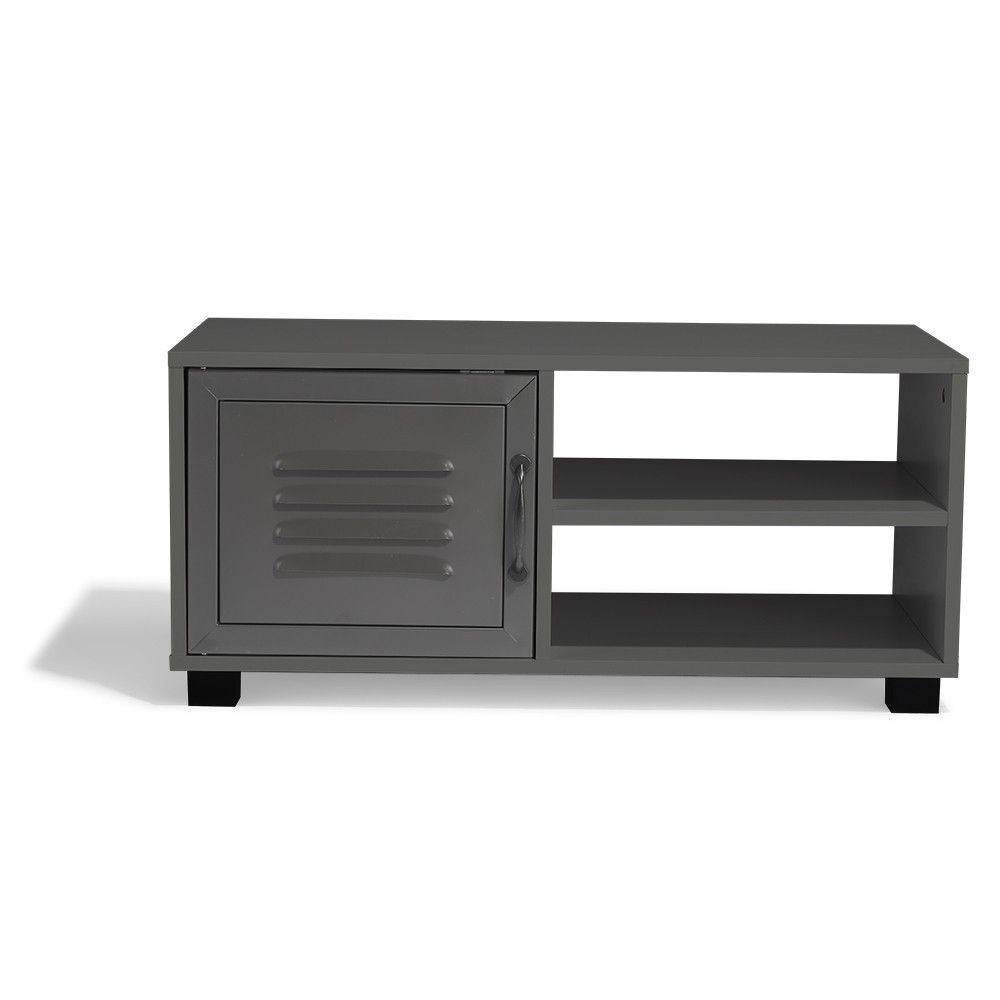 Table Basse Gris Anthracite Brooklyn 1 Porte Et 2 Niches Table