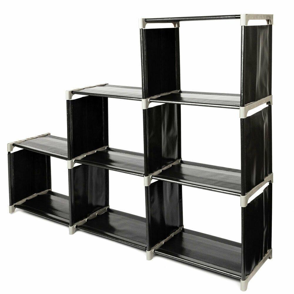 Details About Storage 6 Grids Organizer Closet Space Saving Clothes Cubes Black New Bookcase Storage Storage Closet Organization Cubes Closet