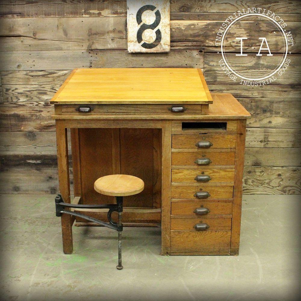 Vintage Industrial 7 Drawer Swing Stool Wooden Drafting Table School  Antique $2500