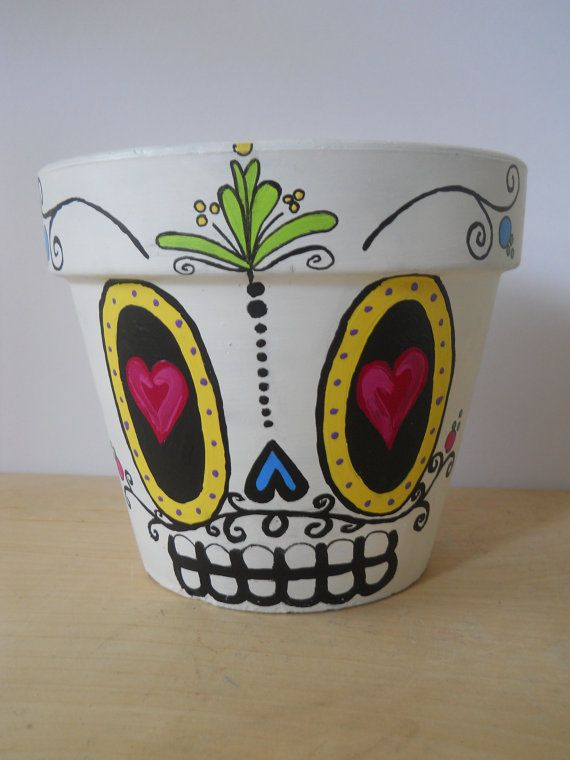 Day Of The Dead Sugar Skull Flower Pot Planter Halloween Dia De Los Muertos Outdoor  Halloween Decor Made To Order