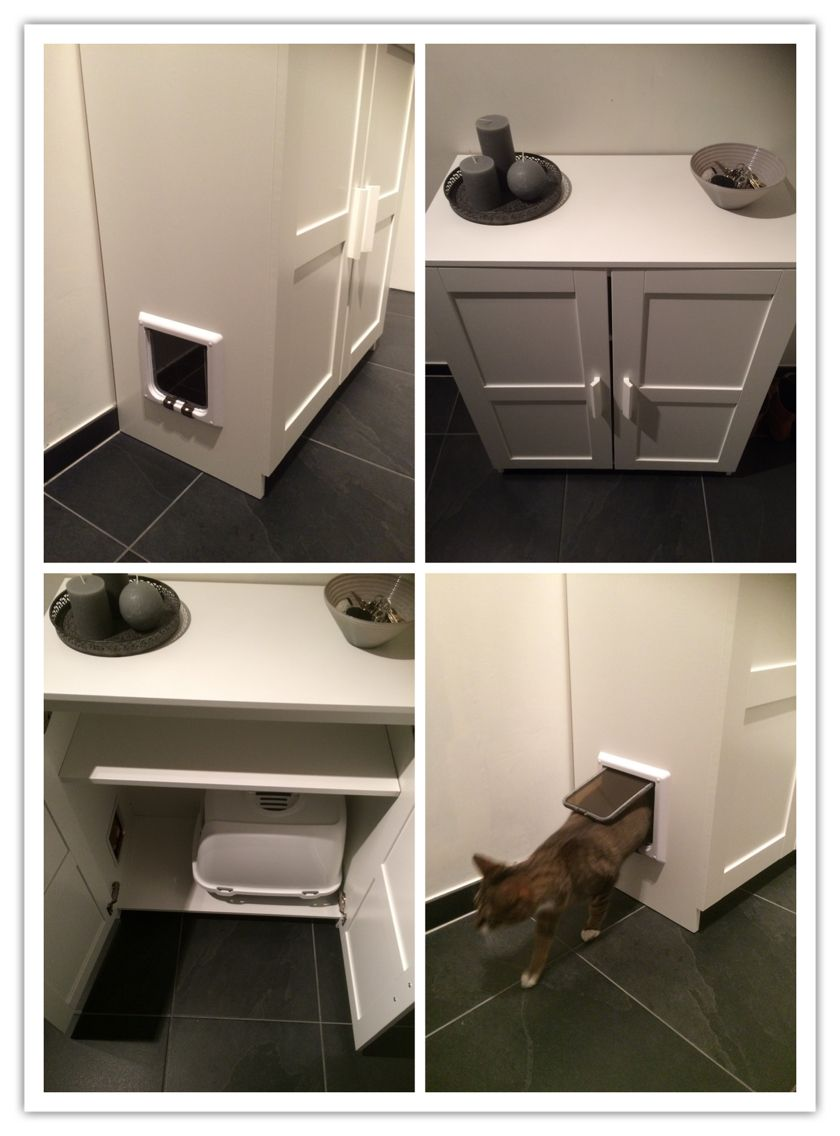 Cat Lovers! Litter Box In IKEA Cabinet/ Kattenbak In Kast IKEA