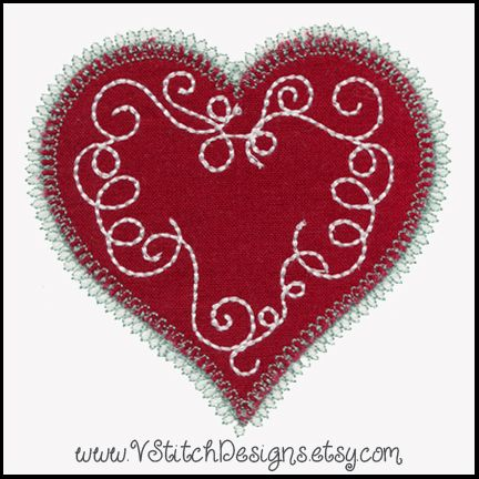 * HEARTS 12 Designs Machine Applique Embroidery Patterns