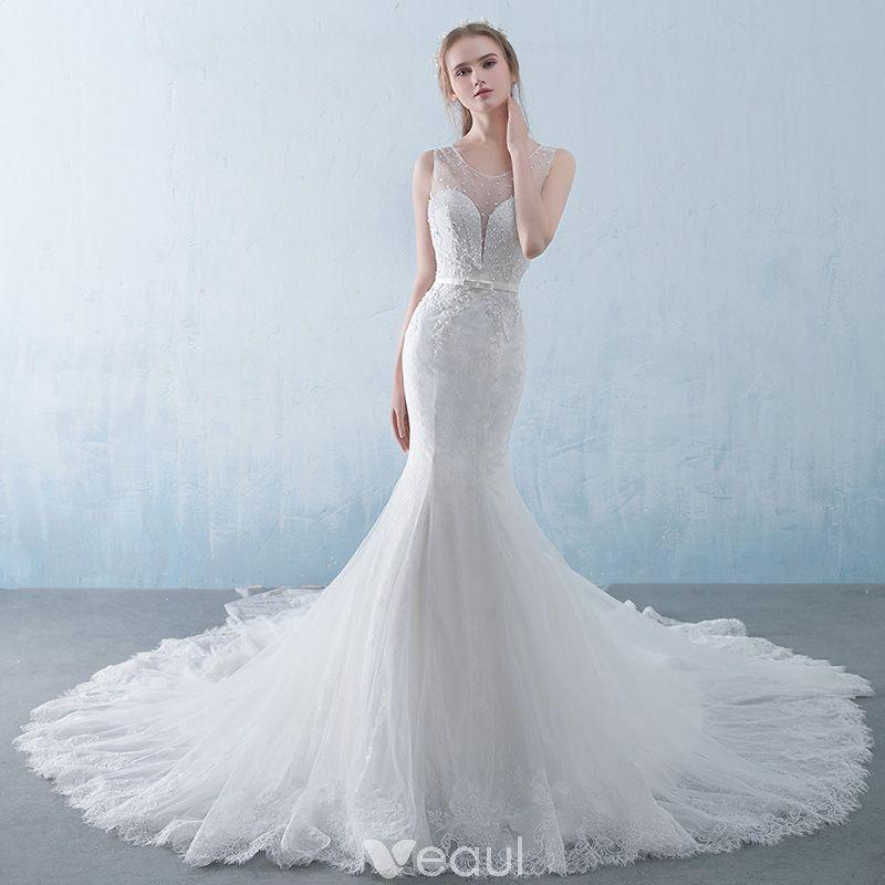 Chic / Beautiful White Pierced Wedding Dresses 2018 Trumpet ...