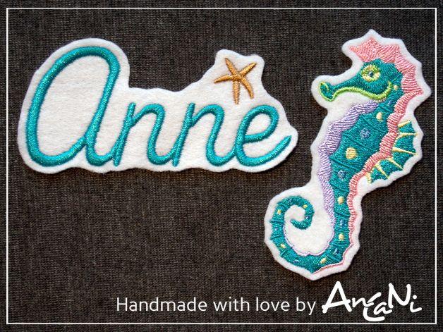 Aufnäher Dein Name mit Muschel u. Seepferdchen von AnCaNi auf DaWanda.com