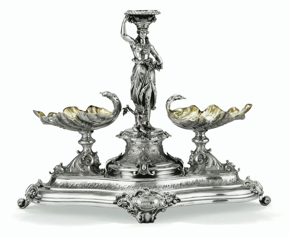 A German Silver Table Centrepiece Formed As Female