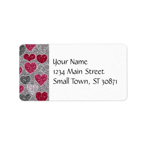 Happy ValentineS Day Glitter Love Bling Hearts Label  Valentine