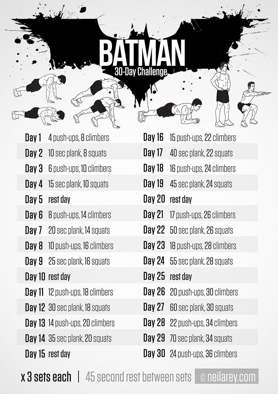 batman 30 day challenge workout 100 no equipment workouts by neila