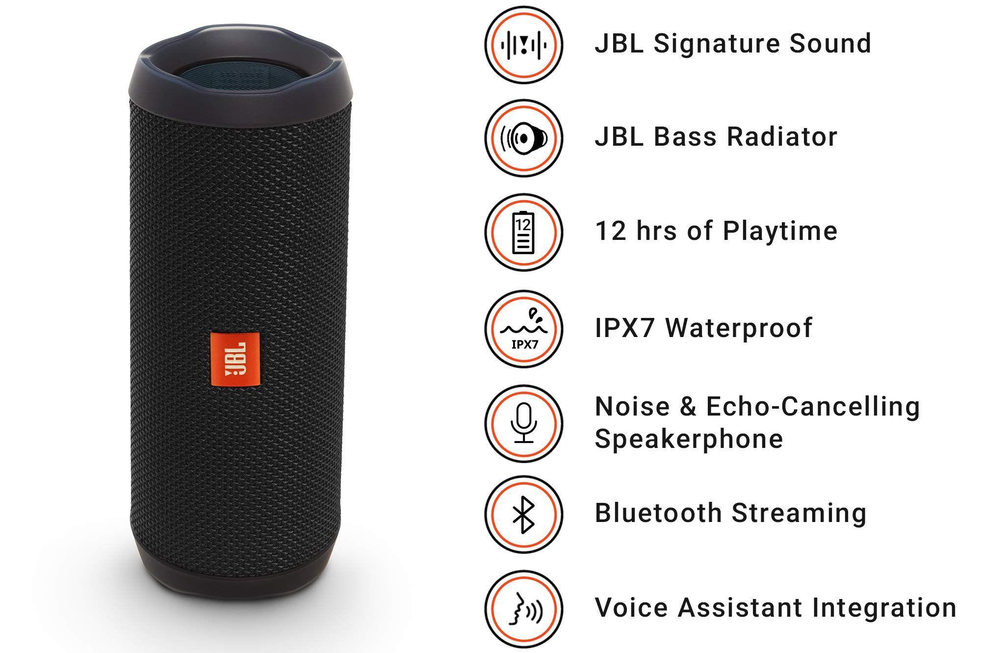 Jbl Flip 4 Waterproof Portable Bluetooth Speaker Black Waterpro Bluetooth Speakers Portable Waterproof Portable Bluetooth Speaker Wireless Speakers Portable