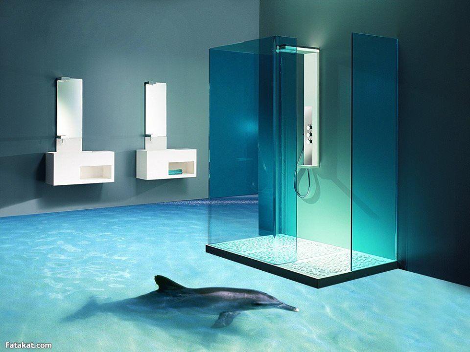revêtement-sol-résine-aspect-3D-dauphin | Salle de bain ...