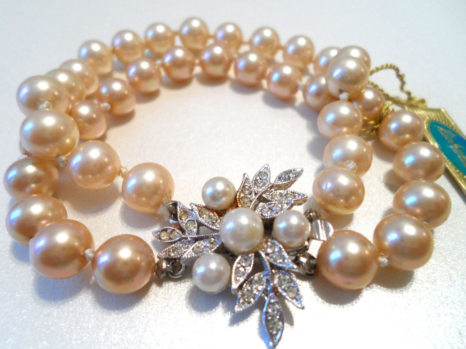 24dd17a2dbf8f Vintage Ivory Faux Pearl Double Strand Bracelet Rhinestone and Faux ...