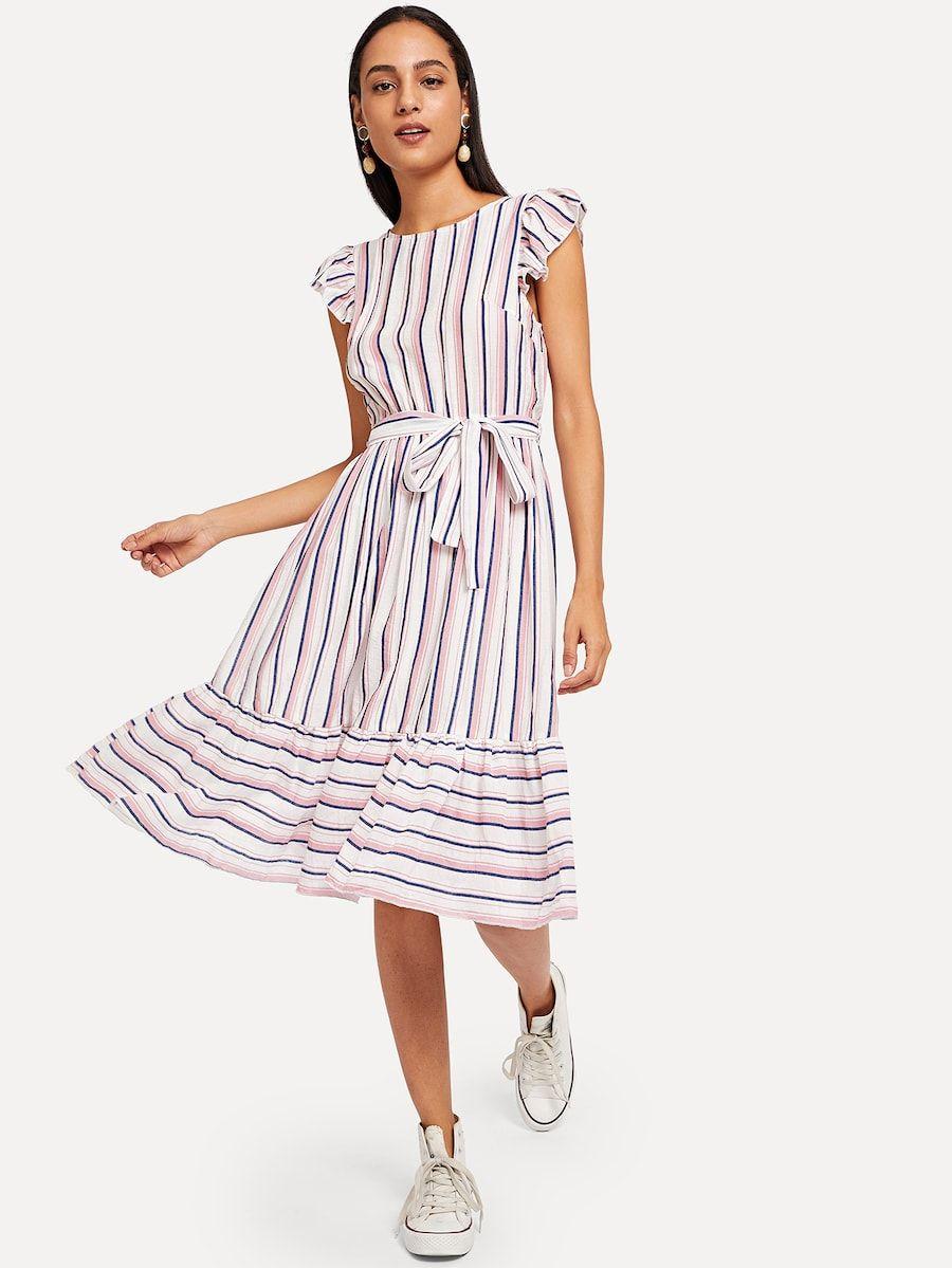 e4b2ba3d471bb Ruffle Hem Flutter Sleeve Belted Striped Dress -SheIn(Sheinside ...
