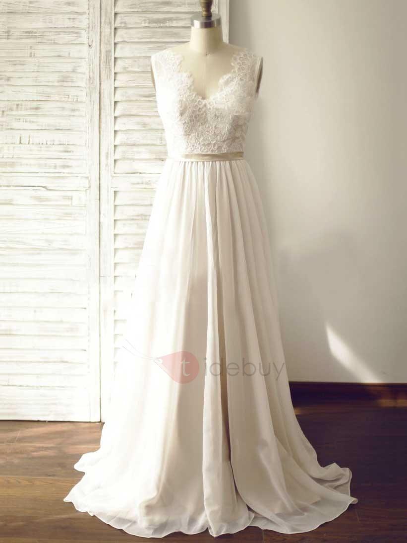 Tidebuy tidebuy simple v neck lace a line wedding dress adorewe