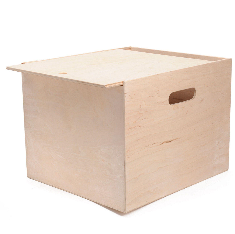 Mooie Houten Box.Opbergkist Vierkant Met Schuifdeksel Speelgoed Opbergen Toy