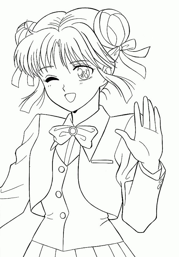 Coloriage Manga A Colorier Dessin A Imprimer Coloring Book Art Cute Coloring Pages Cartoon Girl Drawing