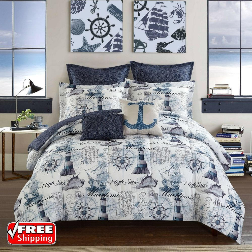 Nautical Navy Blue Comforter Set King Size 7pc Reversible Bed Sheet Set Home Garden Bedding Comforters Comforter Sets Coastal Bedding Sets Luxury Bedding