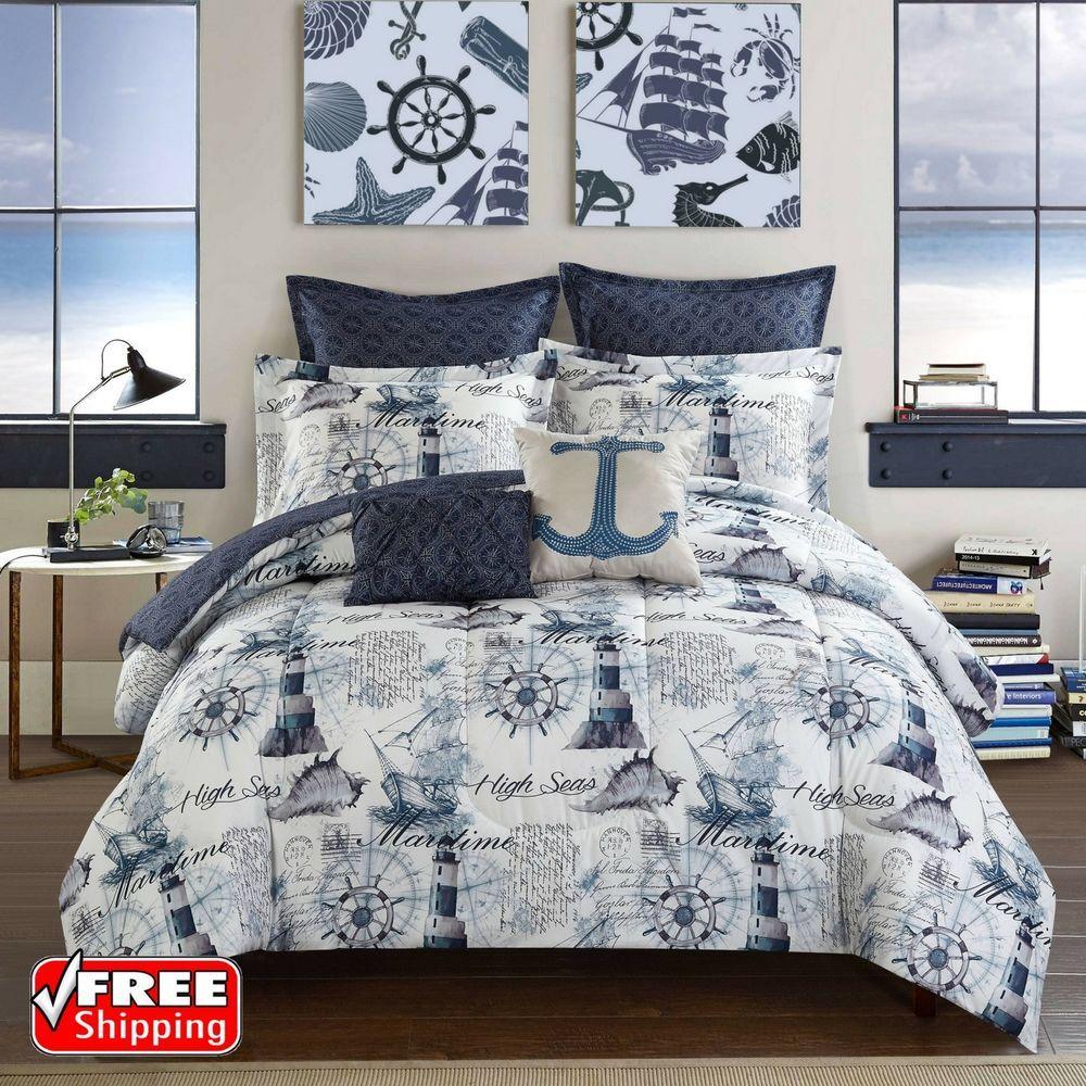 Nautical Navy Blue Comforter Set Queen Size 7pc Reversible Bed Sheet Set Nautical Bedding Sets Beach Bedding Sets Bedding Sets