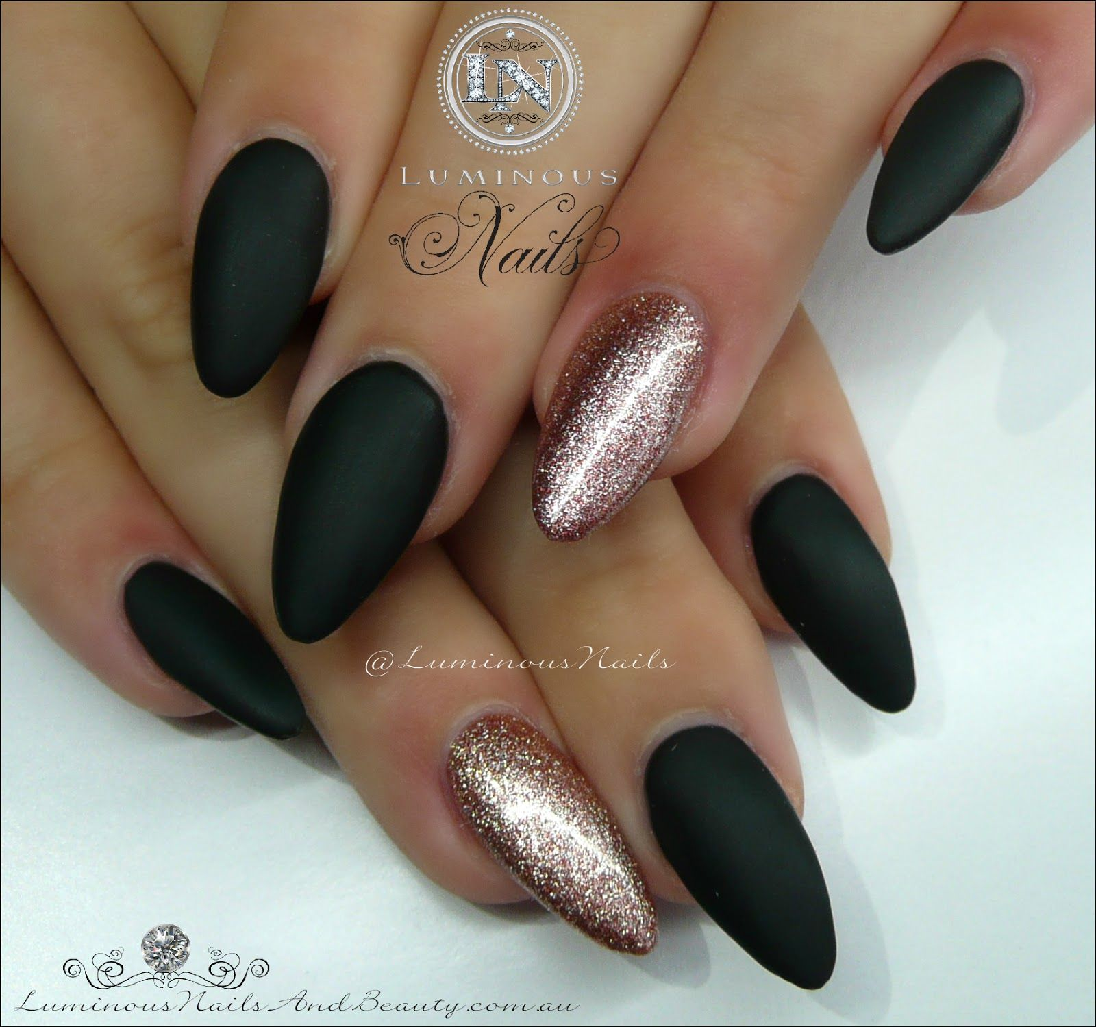Luminous Nails Matt Black Rose Gold Acrylic Gel
