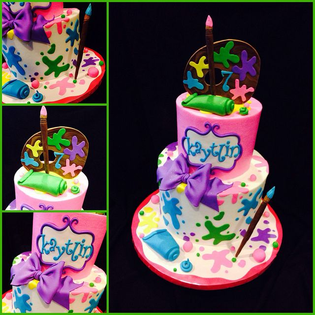 Painting Party Cake With Images Art Birthday Cake Art Party Cakes