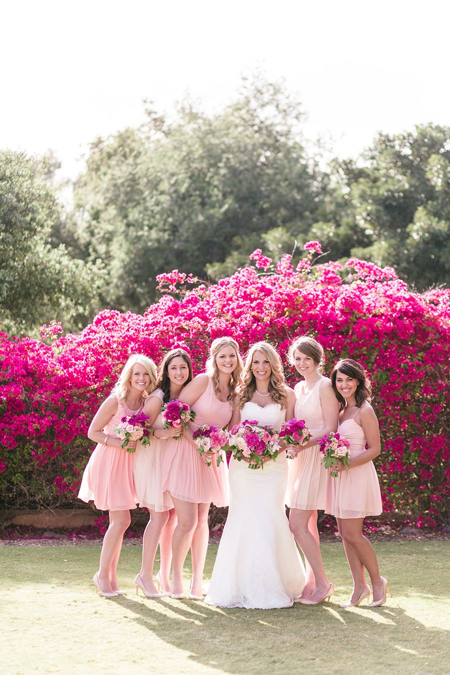 California Garden Wedding Layered with Pink | Damas, Damitas de ...