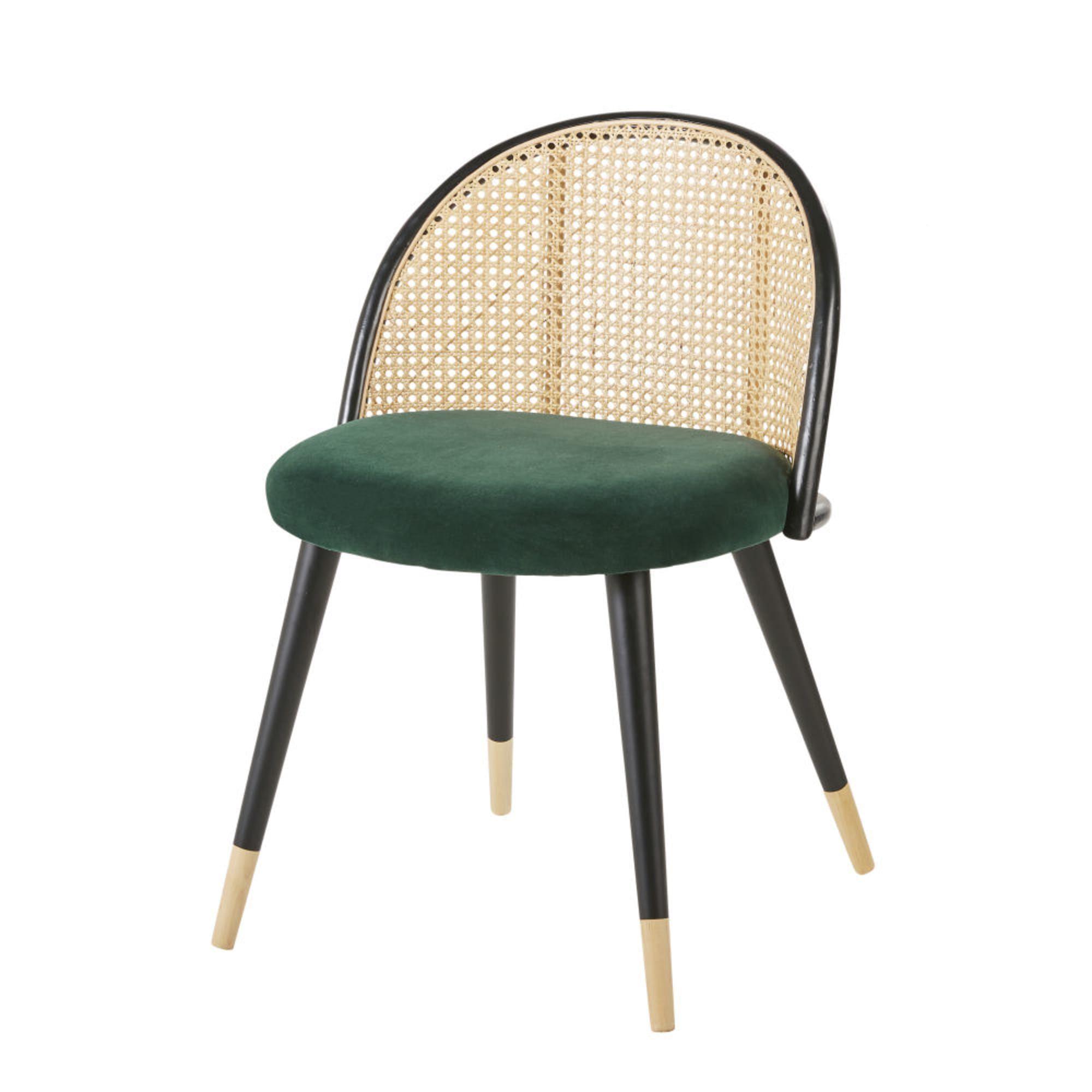 La Chaise Vintage Vert Cannage En Rotin Et Bouleau Massif Mauricette Vous Comblera A Tout Point De Vue Des Pieds Obl En 2020 Chaise Vintage Mobilier De Salon Cannage