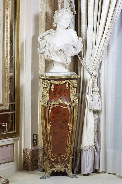 ANTIQUE MARBLE BUST & LOUIS XV STYLE PEDESTAL FROM ITALY