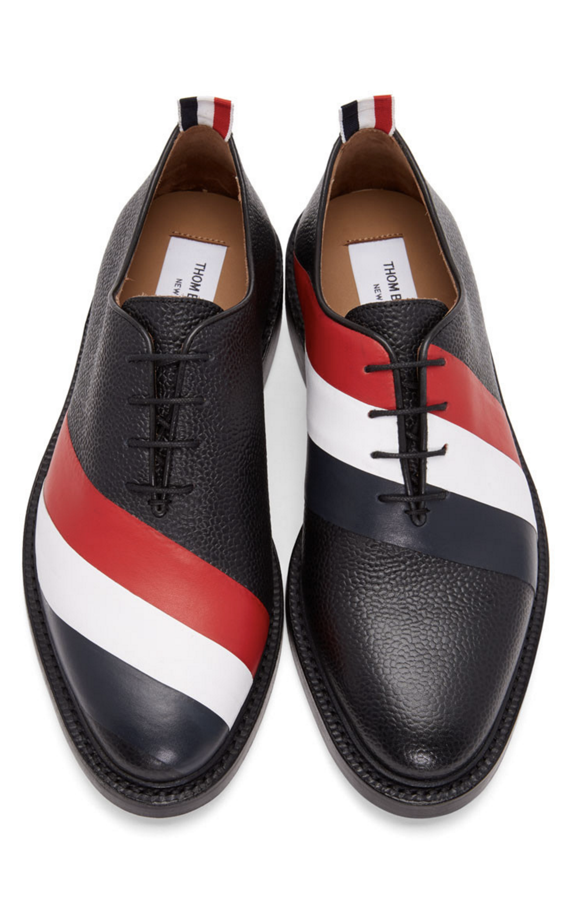 b222868f34a8 Thom Browne Black Diagonal Stripe Wholecut Oxfords from SSENSE (men ...