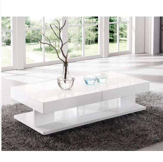 Verona Extendable High Gloss Coffee Table In White White Gloss
