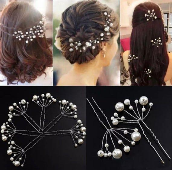 set of 2 hair pins|Crystal Hair Clips|Bridal hair pin Silver Hair Clip Ariana Pearl Hair Clip Bridal headpiece Wedding Hair Accessories