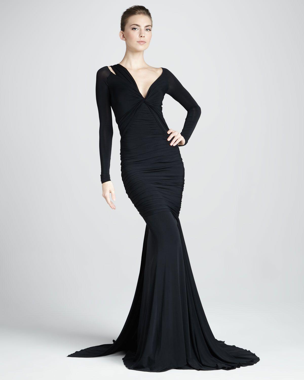 Donna Karan | Long-Sleeve Mermaid Jersey Gown | Neiman Marcus ...