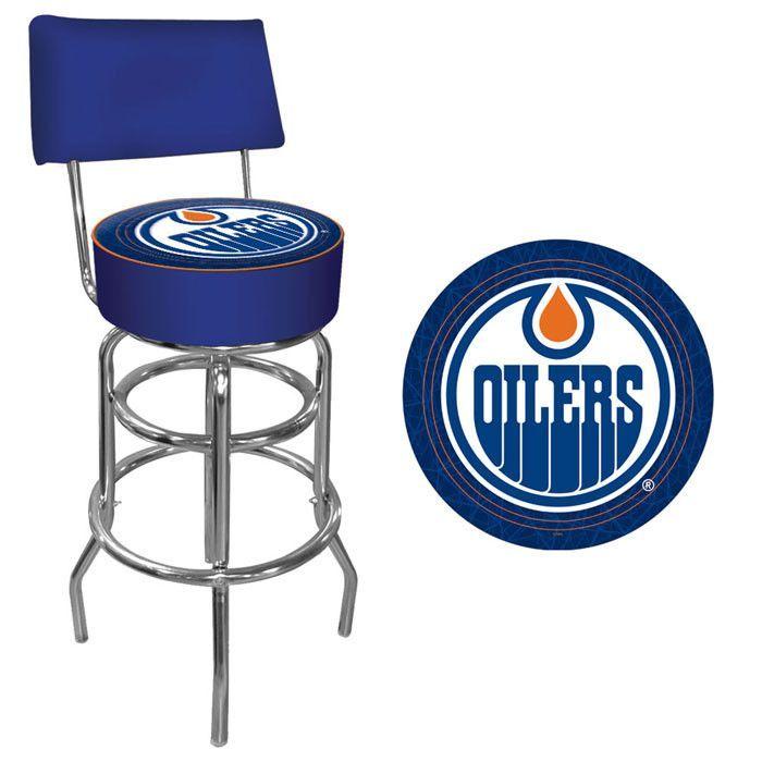 Trademark Commerce NHL1100-EO NHL Edmonton Oilers Padded Bar Stool with Back