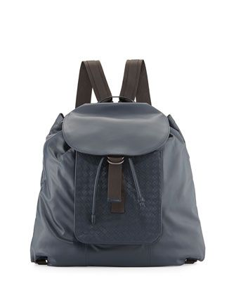 Woven Leather Backpack, Navy Blue by Bottega Veneta at Neiman Marcus.