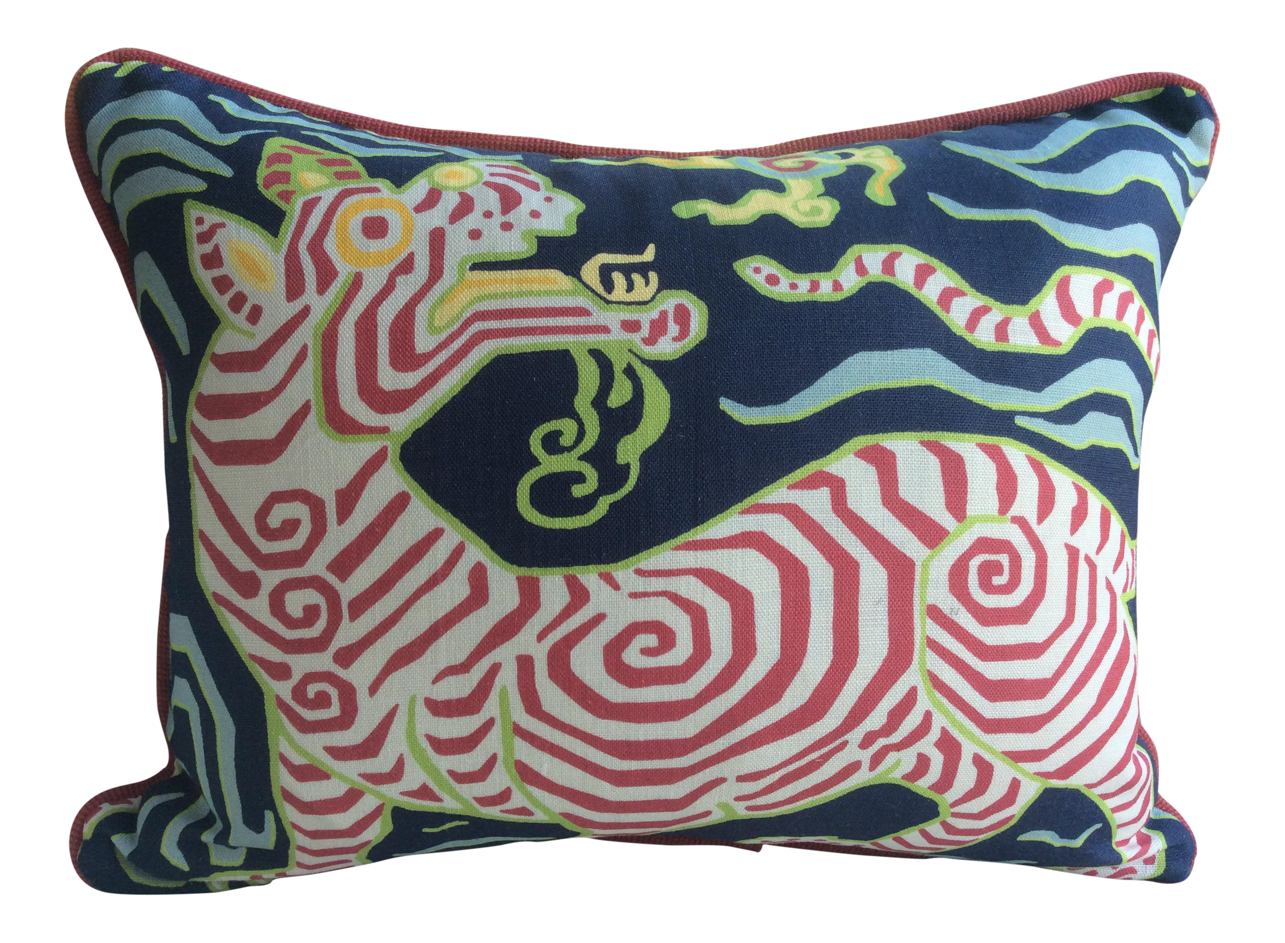 Clarence House Tibet Dragon Navy Linen Down Pillow Clarence  # Muebles Nay Tigre