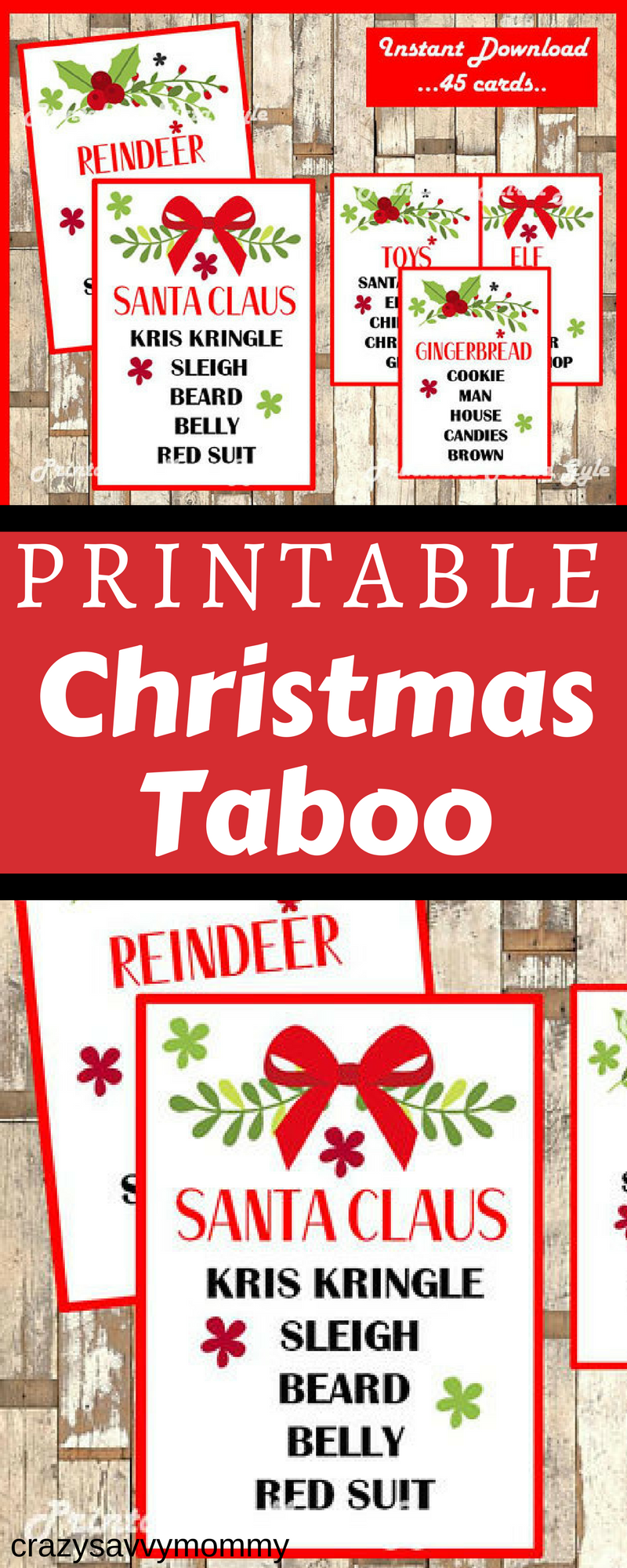 Only 2 49 Printable Christmas Taboo Game Celebrate The Holidays With This Fun And Festive Christmas Taboo Game Includes 45 Unique Playing Cards Taboo Game C