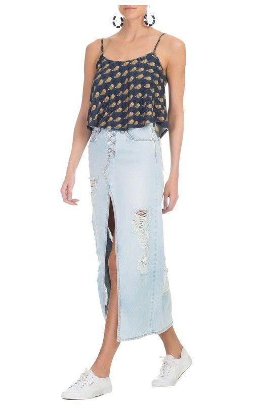 de98f551b FARM - Saia longa jeans detonada fenda - OQVestir | meus look ...