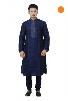 Manyavar Traditional Kurta. The cotton kurta has lurex piping and machine embroidery with self thread on collar, placket and sleeves. There is pintucks effect all over the front, thus making it appealing for all occassions.