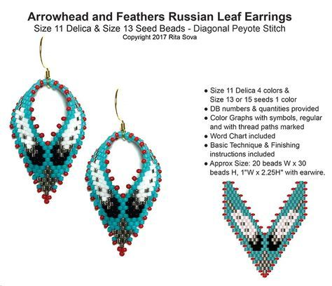 Arrowhead And Feathers Russian Leaf Earrings Bead Patterns Com