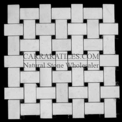 Statuary Crystal Marble Italian White Statuario Basketweave Mosaic Tile With Nero Marquina Black Dots Polished Mosaic Tiles Statuary Marble Tile Statuary